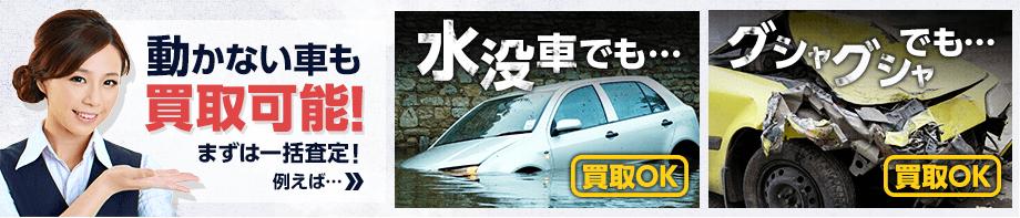 動かない車も買取可能! まずは一括査定! 例えば… 水没車でも…買取OK グシャグシャでも…買取OK